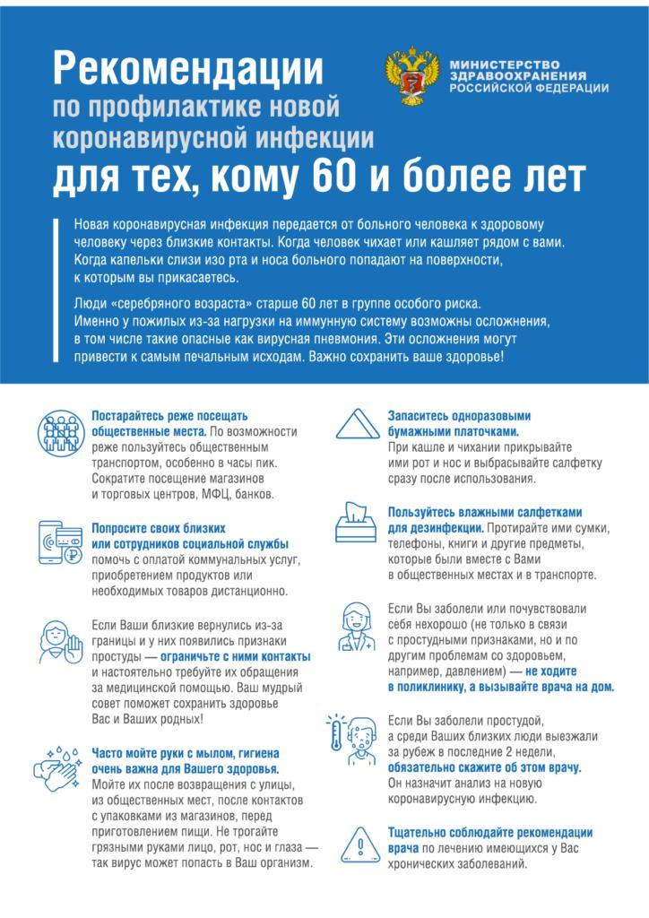 Рекомендации по профилактики новой коронавирусной инфекции для тех, кому 60 и более лет